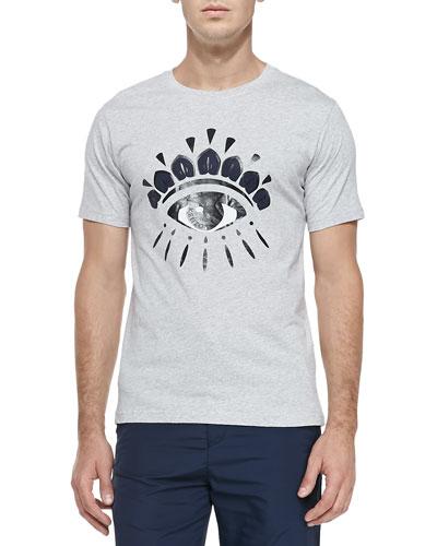 Kenzo Eye-Print Jersey Tee, Light Gray