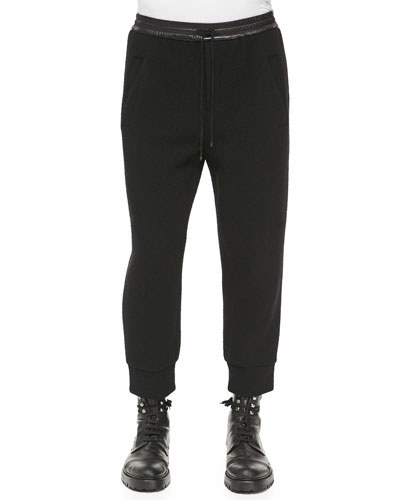 Leather-Waist Jersey Track Pants