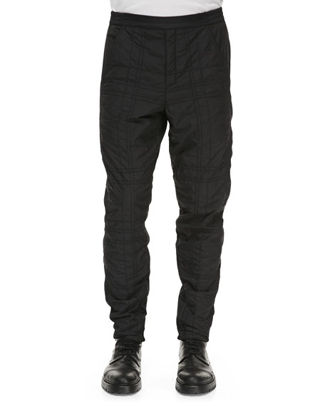 Quilted Nylon Track Pants, Black