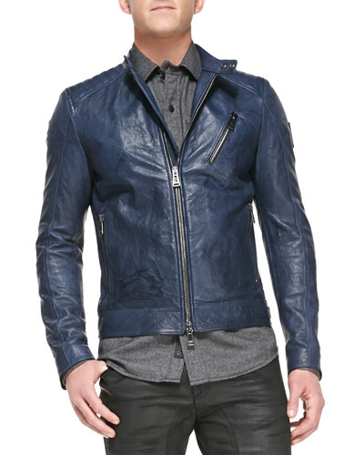 Belstaff Kirkham Tumbled Leather Biker Jacket, Indigo
