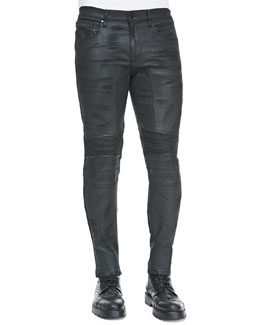 Belstaff Eastham Resin-Coated Skinny Jeans, Black