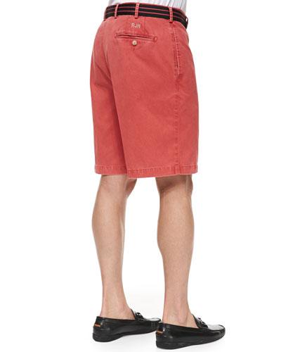 Peter Millar Monogrammed Winston Twill Shorts, Red