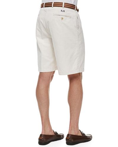 Peter Millar Monogrammed Winston Twill Shorts, Stone