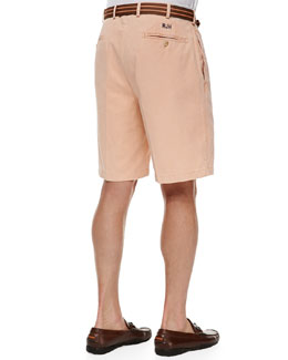 Peter Millar Monogrammed Winston Twill Shorts, Orange