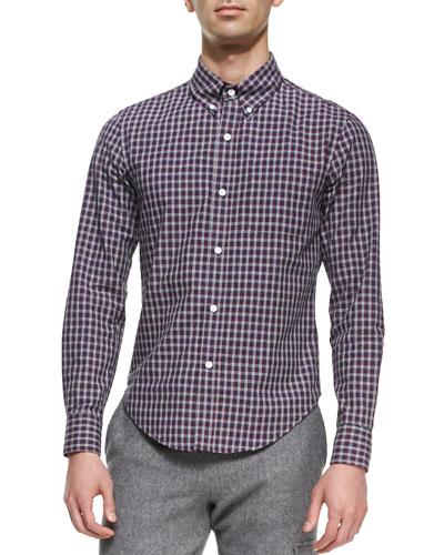 Check Button-Down Shirt, White/Blue/Red