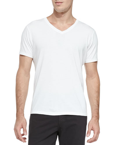 AG Adriano Goldschmied Supima Cotton V-Neck Tee, White
