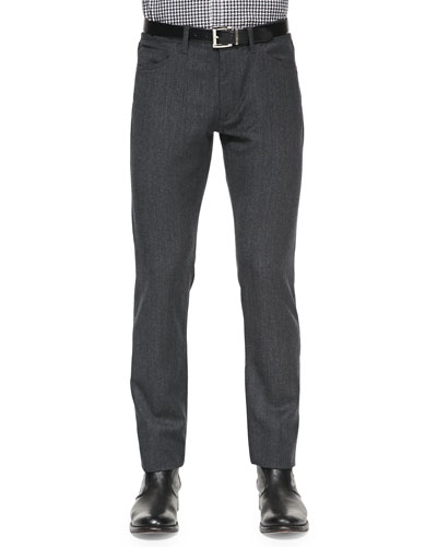Theory Haydin 5-Pocket Wool Pants, Charcoal