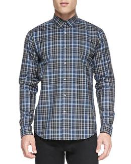 Multi-Plaid Button-Down Shirt, Blue/Green