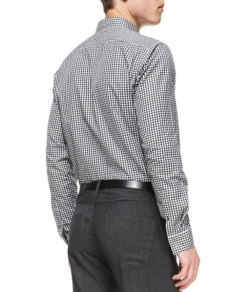 Basketweave Button-Down Shirt, Gray