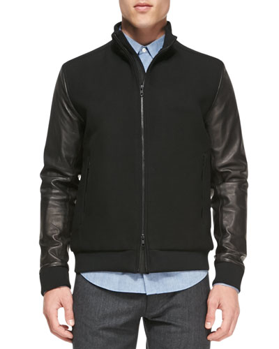 Theory Double-Faced Bomber Jacket, Black