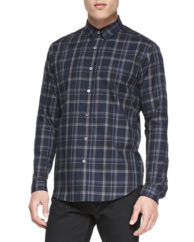 Theory Plaid Button-Down Shirt, Blue Multi