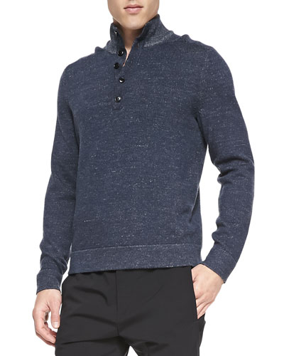 Theory Melange 1/2-Button Pullover Sweater, Blue