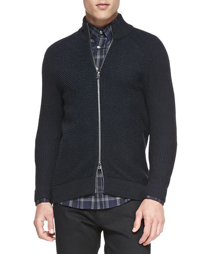 Theory Ribbed Zip-Front Cardigan Sweater, Black/Navy