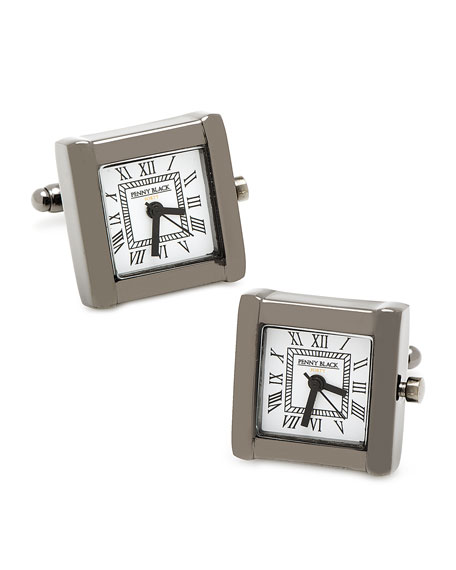 Square Watch Movement Cuff Links, Black