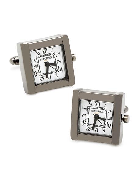 Square Watch Movement Cuff Links, Black
