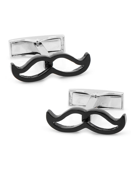 Cufflinks Inc. Enamel Mustache Cuff Links, Black