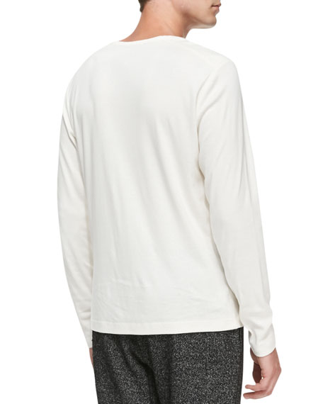 Andrion Ribbed Long-Sleeve Shirt, White