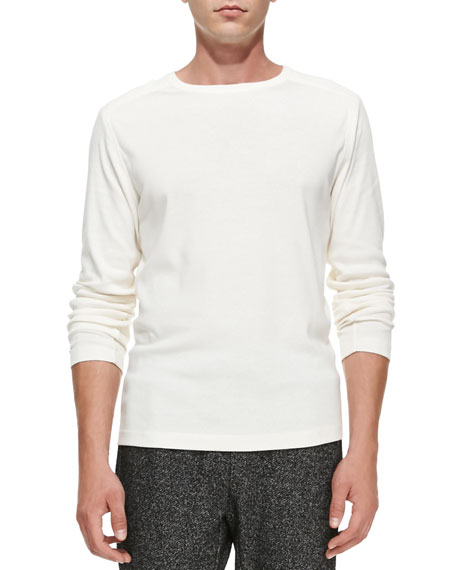 Andrion Ribbed Long-Sleeve Shirt, White