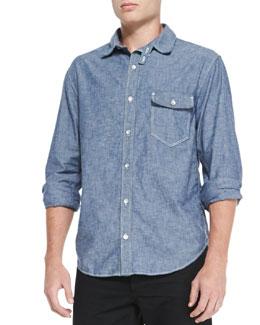 Rag & Bone Button-Down Chambray Shirt, Indigo
