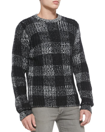 Rag & Bone Theo Plaid Knit Sweater, Black
