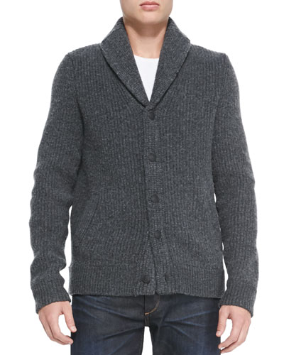 Rag & Bone Jameson Shawl-Collar Cardigan, Charcoal
