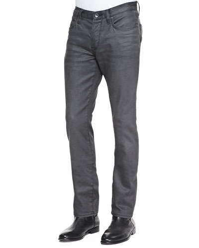 John Varvatos Star USA Bowery Coated Slim-Fit Denim Jeans, Gray