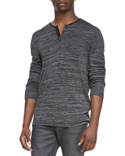 John Varvatos Star USA Raw-Edge Melange Henley, Black Multi