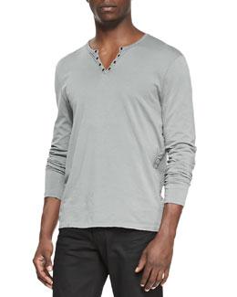 John Varvatos Star USA Long-Sleeve Split-Neck Henley, Light Gray