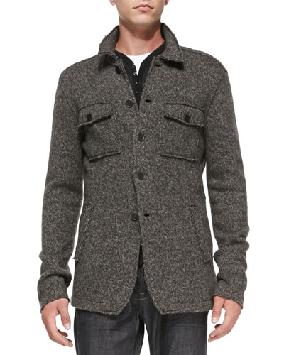 John Varvatos Star USA Raw-Edge Sweater Jacket, Gray