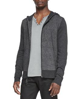 John Varvatos Star USA Woven Zip-Front Hoodie, Black