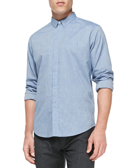 Theory Cotton-Flannel Fly-Front Shirt, Blue