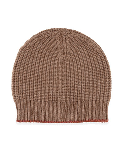 Cashmere Ribbed Hat, Brown/Orange