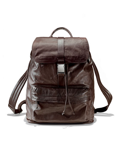 Brunello Cucinelli Bufalino Leather Backpack, Dark Brown