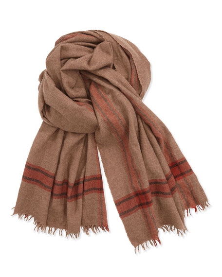 Men's Striped Cashmere/Silk Scarf, Brown/Orange
