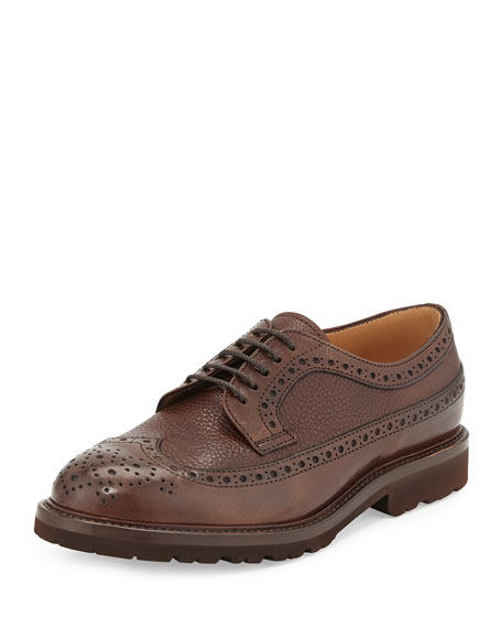 Brunello Cucinelli Pebbled Leather Wing-Tip Shoe