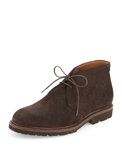 Waxed Suede Chukka Boot, Dark Brown