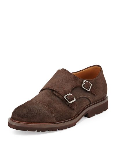 Monk-Strap Suede Shoe with Rubber Sole