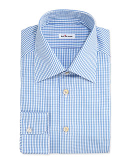 Kiton Plaid Shirt, Dark Blue/Light Blue