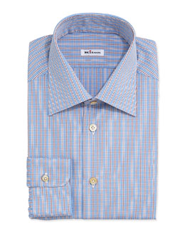 Kiton Plaid Shirt with Stripes, Blue/Red