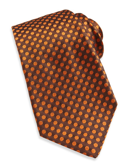 Kiton Woven Dot Silk Tie, Orange
