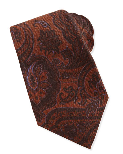 Paisley Wool/Silk Tie, Brown/Purple