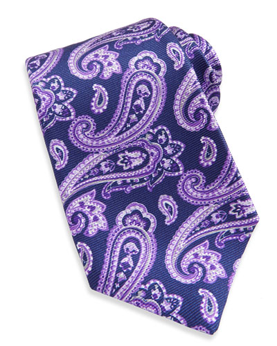 Large-Paisley Textured Tie, Navy/Purple
