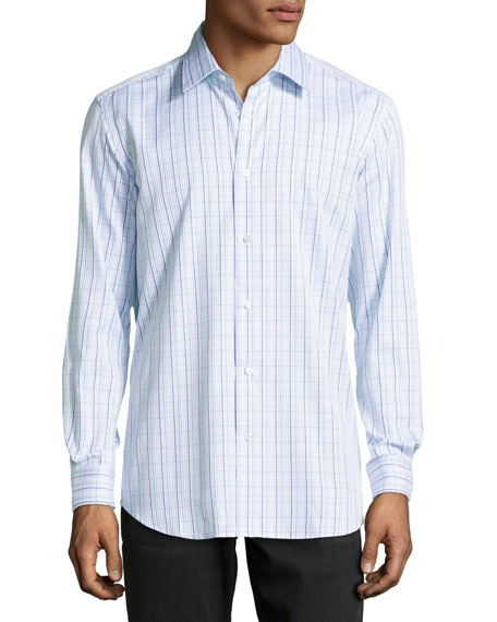 Gabriel Checked Jacquard Dress Shirt, Navy