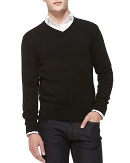 Neiman Marcus Cashmere V-Neck Sweater, Black