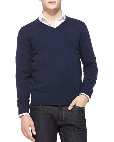 Neiman Marcus Cashmere V-Neck Sweater, Navy