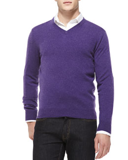 Neiman Marcus Cashmere V-Neck Sweater, Purple