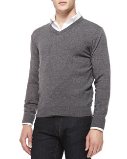 Neiman Marcus Cashmere V-Neck Sweater, Gray/Navy