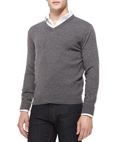Cashmere V-Neck Sweater, Gray/Navy