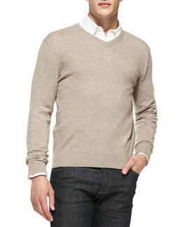 Neiman Marcus Cashmere V-Neck Sweater, Taupe