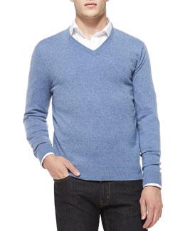 Neiman Marcus Cashmere V-Neck Sweater, Denim